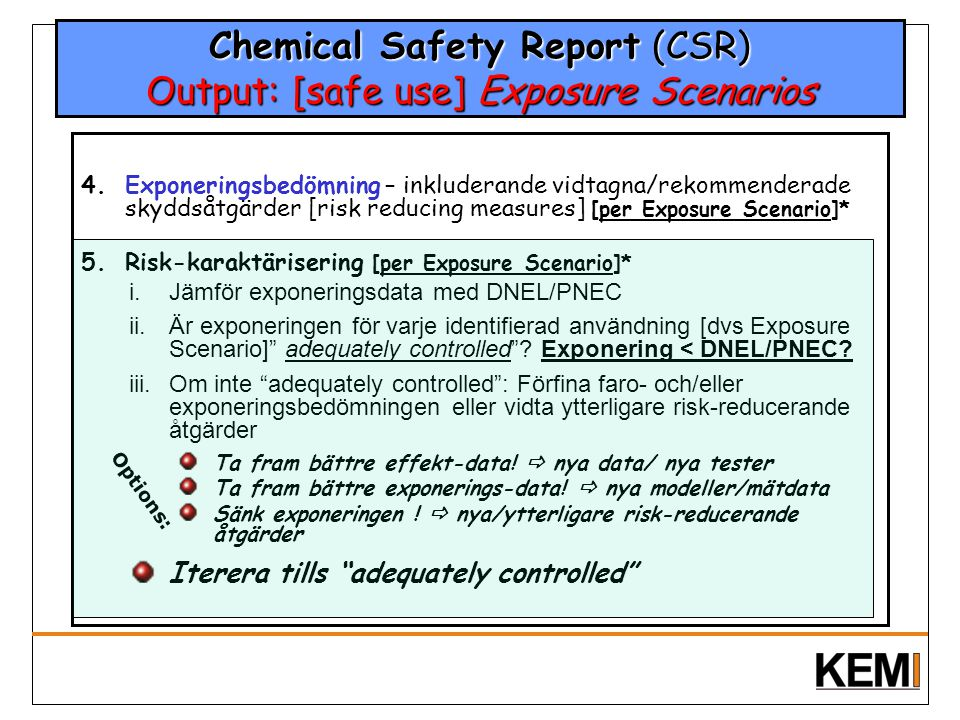 Chemical Safety Report (CSR) Output: [safe use] Exposure Scenarios